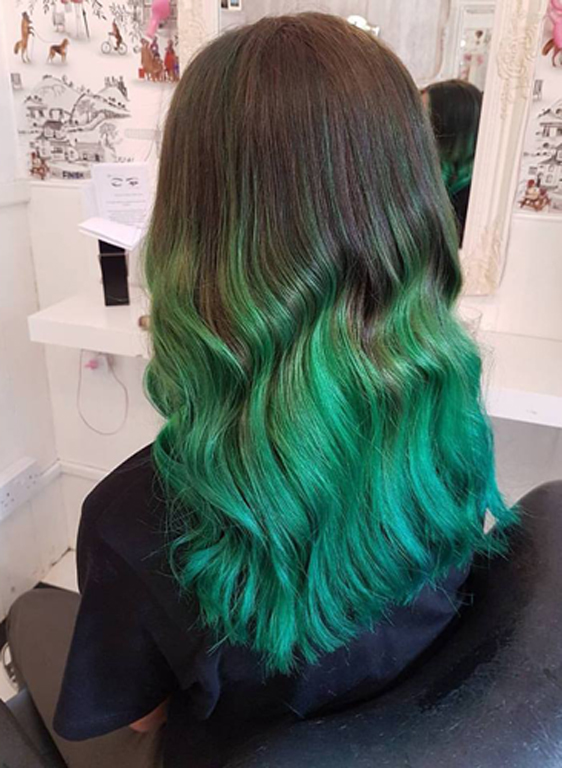 shades of colour green at Lipstick Lashes & Locks Edinburgh